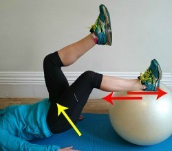 Using a gym ball in a controlled roll-in and roll-out is great for the hamstrings