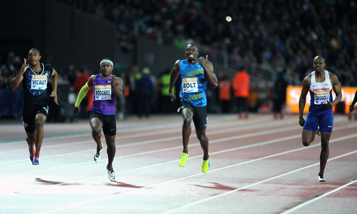 Usain Bolt and Mo Farah light up London's Olympic Stadium