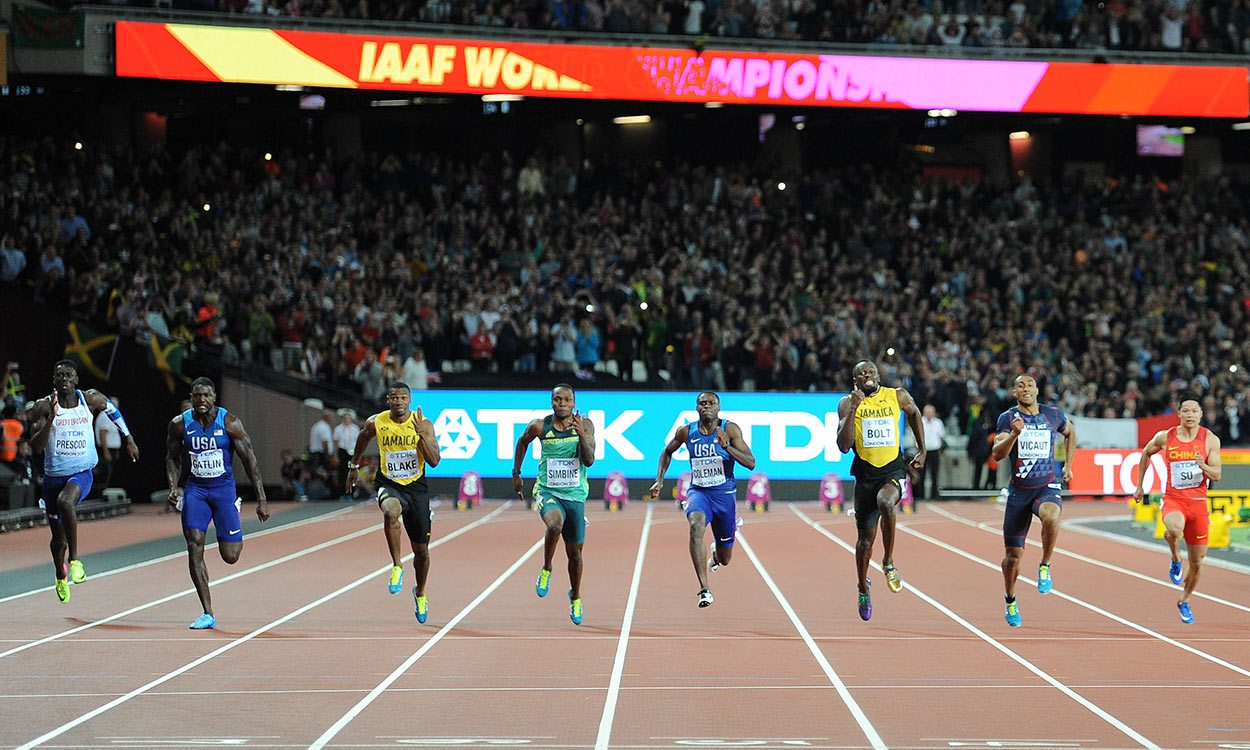 Justin Gatlin brings down Usain Bolt