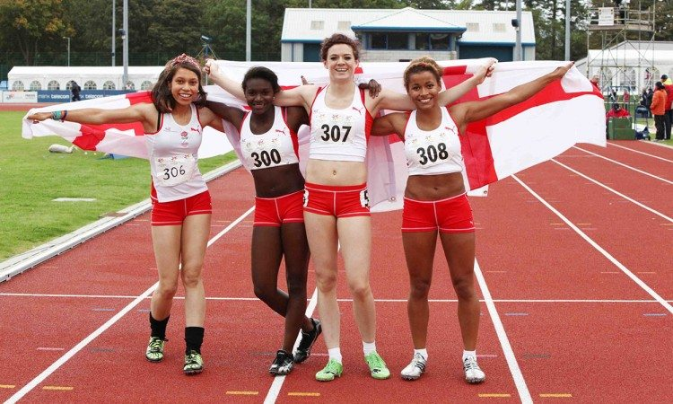 Dina-Asher-Smith-Yasmin-Miller-Sophie-Papps-Jazmin-Sawyers-4x100-Commonwealth-Youth-Games-2011-by-Redpoint-PR