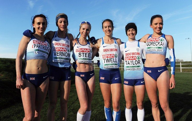 Britain's senior women celebrate in Samorin