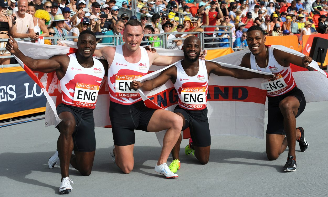England storm to Commonwealth 4x100m double