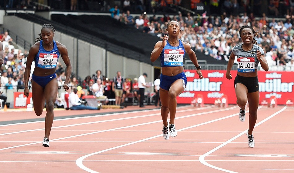 Shelly-Ann Fraser-Pryce wins 100m from Dina Asher-Smith in London