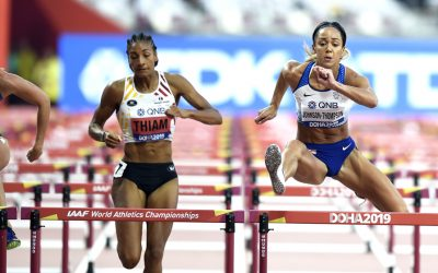 Katarina Johnson-Thompson surges into heptathlon lead