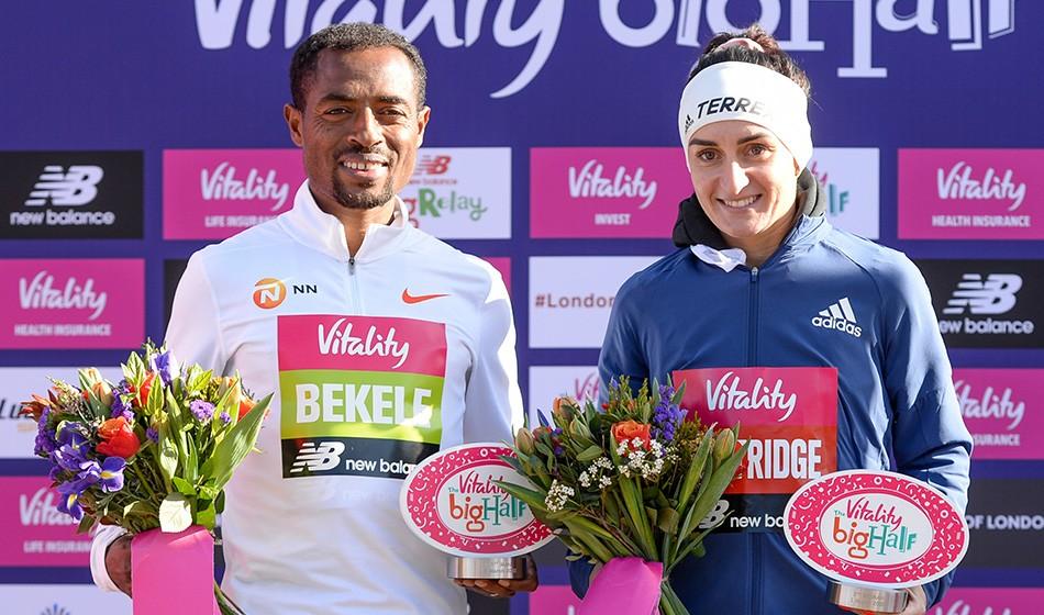 Kenenisa Bekele and Lily Partridge win Big Half in London