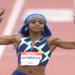 Sha'Carri Richardson in flying form at Mt Sac